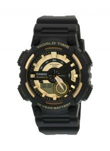 Casio Youth Combination Analog Digital Gold Dial Men's Watch - AEQ-110BW-9AVDF