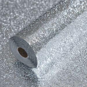 Kitchen Protection Sticker Heat Resistant, 3 meter x 60 cm Multi Purpose Roll Oil Proof Backsplash Sticker - Silver
